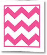 Large Chevron With Border In French Pink Metal Print