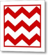 Large Chevron With Border In Red Metal Print