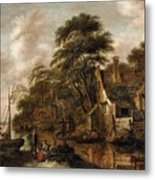 Large Farmstead On The Bank Of A River Metal Print