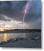 Large Lighting From Dark Clouds During Sunset At Large Lake Metal Print