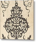 Large Pendant, Two Winged Fantasy Creatures With Trumpets At Bottom Metal Print