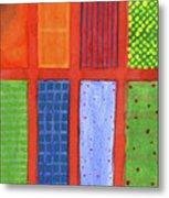 Large Rectangle Fields Between Red Grid  Metal Print