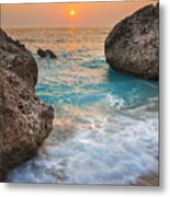 Large Rocks And Wave With Sunset On Paradise Island Greece Metal Print
