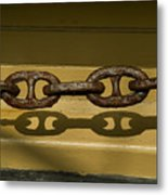 Large Rusted Chain And Its Shadow Metal Print
