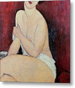 Large Seated Nude Metal Print by Amedeo Modigliani