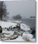 Large Stones Covered With Snow Metal Print