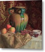 Large Vase With Apples Metal Print