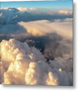 Large White Cloud From Passanger Airplace Window At Sunset Metal Print