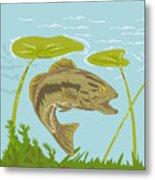 Largemouth Bass Fish Swimming Underwater  Metal Print by Aloysius Patrimonio