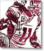 Larry Fitzgerald Arizona Cardinals Pixel Art 1 Metal Print