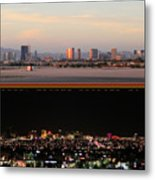 Las Vegas Skyline At Dawn And At Night Metal Print