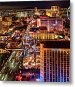 Las Vegas Strip North View Night 2 To 1 Ratio Metal Print