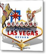 Las Vegas Symbolic Sign On White Metal Print
