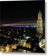 Laser Beams On The Dom Tower In Utrecht 23 Metal Print