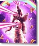 Laser Eyes Space Cat Riding Sloth, Dog - Rainbow Metal Print