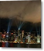 Laser Show Over City At Night Metal Print by Sami Sarkis