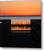 Last Glow Over The Water Metal Print