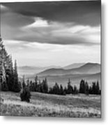 Last Light Of Day In Bw Metal Print