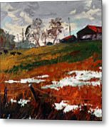 Last Patches Of Snow Metal Print