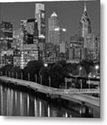 Late Night Philly Grayscale Metal Print