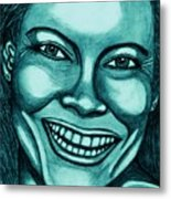 Laughing Girl In Blue 2 Metal Print