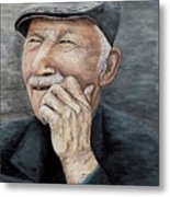 Laughing Old Man Metal Print