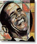 Laughing President Obama Metal Print