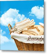 Laundry Basket  Against A Blue Sky Metal Print by Sandra Cunningham