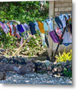 Laundry Drying In The Wind Metal Print