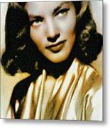 Lauren Bacall - Vintage Painting Metal Print