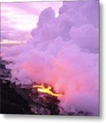 Lava Enters Ocean Metal Print