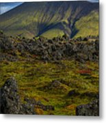 Lava Field And Mountain - Iceland Metal Print