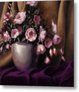 Lavander And Pink Flowers In Silver Vase Metal Print