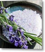 Lavender Bath Salts In Dish Metal Print