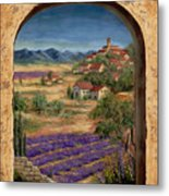 Lavender Fields And Village Of Provence Metal Print