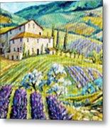 Lavender Hills Tuscany By Prankearts Fine Arts Metal Print