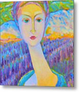 Lavender Lady Art Deco, Decorative Woman Painting, Woman Figure Print For Sale. Pretty Girl Canvas  Metal Print