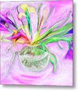 Lavender Orchids Painting Metal Print