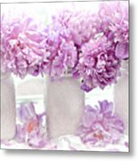 Lavender Peonies White Mason Jars - Romantic Shabby Chic Lavender Purple Peonies Mason Jars Metal Print