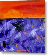 Lavender Sunset Abstract Landscape Metal Print