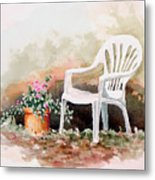 Lawn Chair With Flowers Metal Print