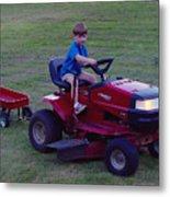 Lawnmower Boy Metal Print