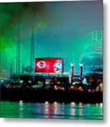 Laser Green Smoke And Reds Stadium Metal Print