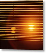 Lazy Summer Afternoon With Sunset View Through The Wooden Window Shades Metal Print