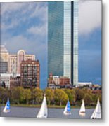 Lean Into It- Sailboats By The Hancock On The Charles River Boston Ma Metal Print