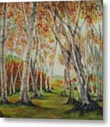 Leaning Birches Metal Print by Charles Hetenyi