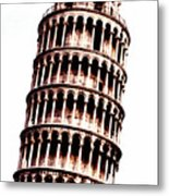 Leaning Tower Of Pisa  Sepia Digital Art Metal Print