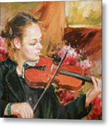 Learning The Violin Metal Print
