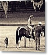 Learning To Ride Sepia Metal Print