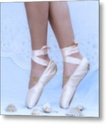 Learning To Walk In Dance World With Pink Pointe Shoes Metal Print